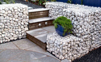 Contemporary gabion wall
